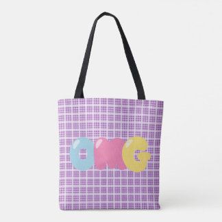 OMG Oh My Gosh Purple Plaid Tote Bag