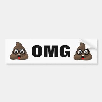 OMG Poop Emoji Bumper Sticker