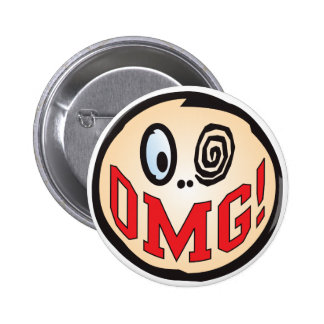 OMG Text Head 2 Inch Round Button