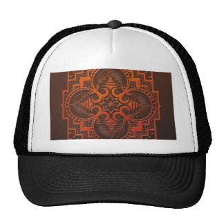 omjarah Woodcut mandala Trucker Hats