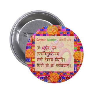 OmMantra GayatriMantra Sanskrit Script by Naveen 2 Inch Round Button