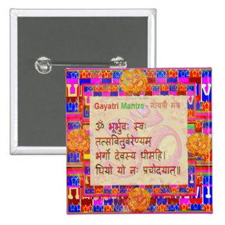 OmMantra GayatriMantra Sanskrit Script by Naveen 2 Inch Square Button