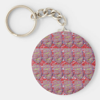 OMmantra mantra microart Ritual Ethnic Red Golden Basic Round Button Keychain