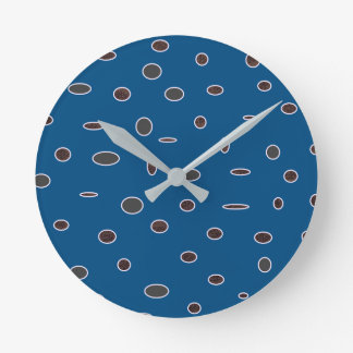 Omni dots manly blue brown pattern Dots02 Clocks