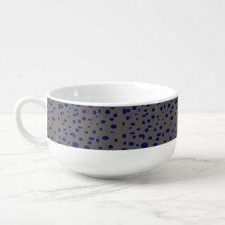 Omni taupe manly blue dots pattern DOTS09 Soup Bowl With Handle