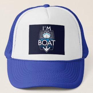 on a boat trucker hat