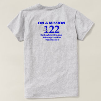 'On a Mission' T-shirt (grey) Blue Lettering