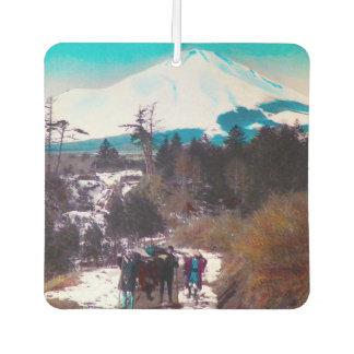 On a Winter Road Beneath Mount Fuji Vintage Japan Air Freshener