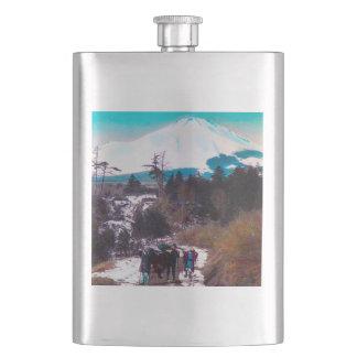On a Winter Road Beneath Mount Fuji Vintage Japan Hip Flask