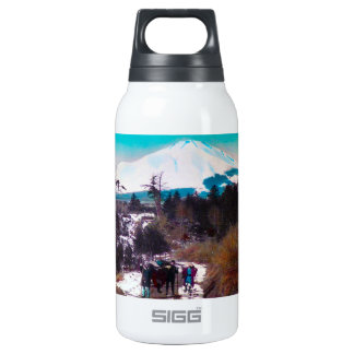 On a Winter Road Beneath Mount Fuji Vintage Japan Insulated Water Bottle