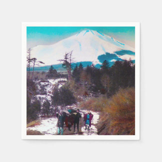 On a Winter Road Beneath Mount Fuji Vintage Japan Paper Napkins