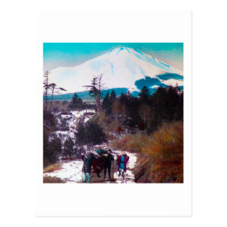 On a Winter Road Beneath Mount Fuji Vintage Japan Postcard