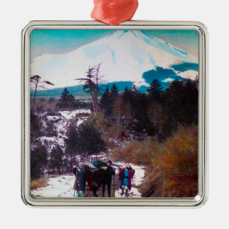 On a Winter Road Beneath Mount Fuji Vintage Japan Silver-Colored Square Ornament