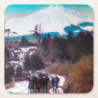 On a Winter Road Beneath Mount Fuji Vintage Japan Square Paper Coaster