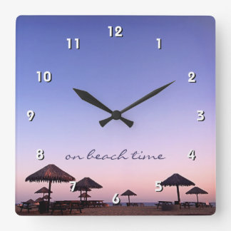 """On Beach Time"" California Palapa Sunset Photo Square Wall Clock"