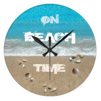 On Beach Time Large Clock