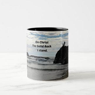 On Christ the Solid Rock I Stand! Two-Tone Coffee Mug