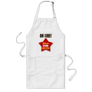 ON FIRE Custom Name Kitchen Rock Star V02J Long Apron