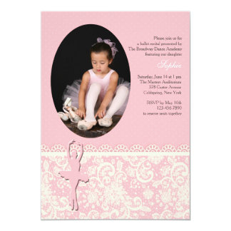 On Her Toes Ballet Photo Invitation