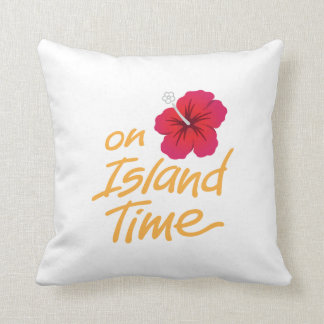 On Island Time Throw Pillow with Hibiscus