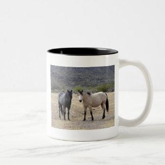 On My Walk With Ronda We Saw These Horses. Two-Tone Coffee Mug