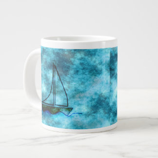 On Stormy Seas Sailboat Large Coffee Mug