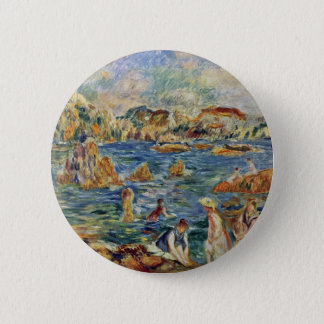 On The Beach In Guernsey By Pierre-Auguste 2 Inch Round Button