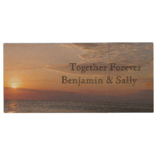 On The Beach Sunrise Wood USB 3.0 Flash Drive