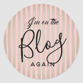 On The Blog Again: Pink and Coffee Classic Round Sticker