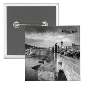 on the Charles Bridge under a stormy sky in Prague 2 Inch Square Button