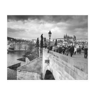 on the Charles Bridge under a stormy sky in Prague Canvas Print