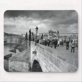 on the Charles Bridge under a stormy sky in Prague Mouse Pad