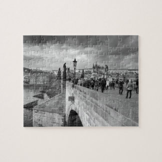 on the Charles Bridge under a stormy sky in Prague Puzzle