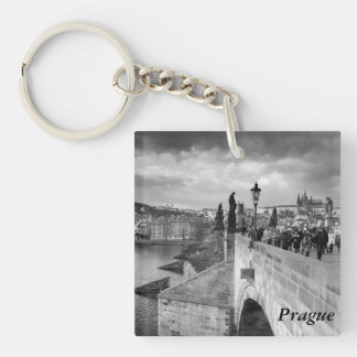 on the Charles Bridge under a stormy sky in Prague Single-Sided Square Acrylic Keychain