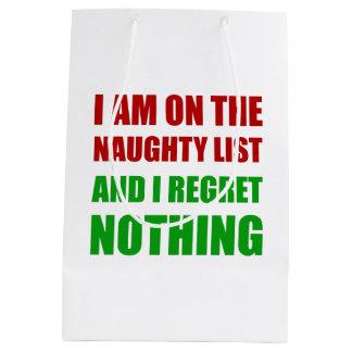 On The Christmas Santa Naughty List Regret Nothing Medium Gift Bag