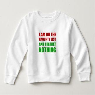 On The Christmas Santa Naughty List Regret Nothing Sweatshirt