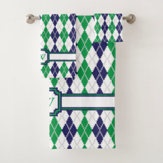 On the Green Argyle Towel Set