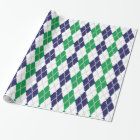 On the Green Argyle Wrapping Paper