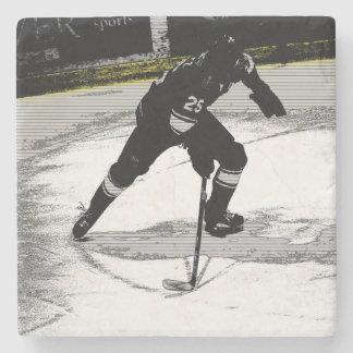 On the Move - Hockey Player Stone Coaster