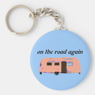 On the Road Again Retro Trailer Home Keychain