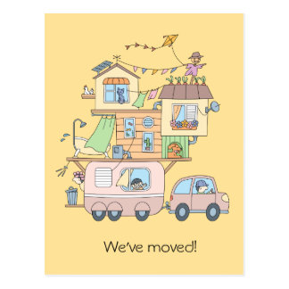 On the Road Family Camping Trailer - New Address Postcard