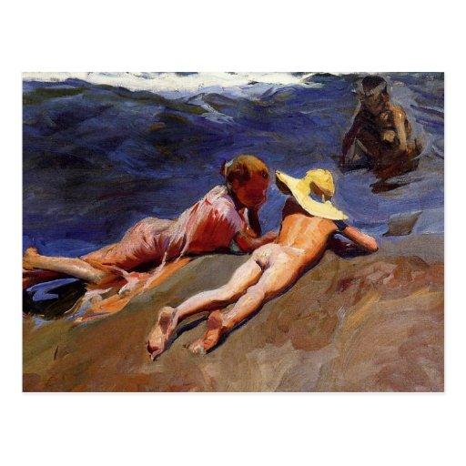 On the Sand, Valencia Beach - Joaquín Sorolla Post Card