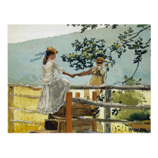 On the Stile by Winslow Homer Postcard