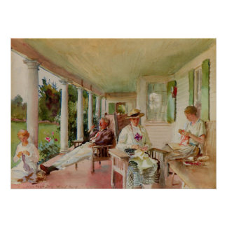 On the Verandah by John Singer Sargent Poster