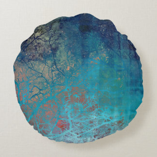 On The Verge of Blue Round Pillow