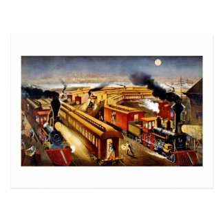 On Time - Vintage Locomotives at Night Postcard