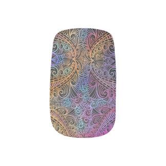 On winding rainbow of time, new age pattern. minx nail art