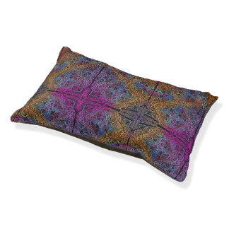 On winding rainbow of time, new age pattern. pet bed