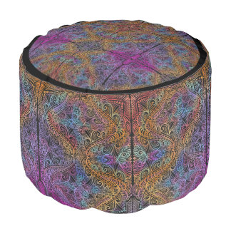 On winding rainbow of time, new age pattern. pouf