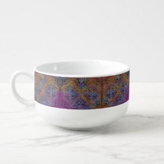 On winding rainbow of time, new age pattern. soup mug